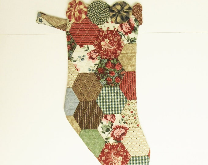 Christmas Stocking with Yo Yo Trim | Quilted Fabric Stockings Handmade