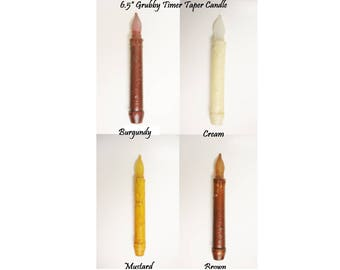 Grubby Timer Taper Candle, Primitive Candles, Timer Tapers, LED Candles, Country Farmhouse Decor