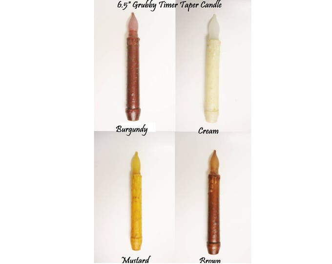Grubby Timer Taper Candle | Primitive Candles | LED Timer Taper Candles