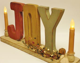 JOY Candle Holder, Primitive Candle Holders, Christmas Decorations, Painted Wood Letters