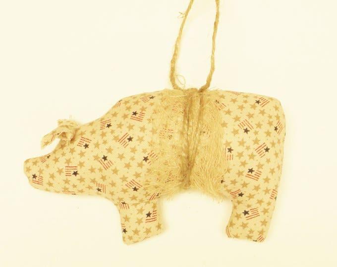 Mini Flag Fabric Pig Ornament | Primitive Ornaments | Primitive Pigs | Pig Ornaments | Americana Ornaments | Handmade Ornaments