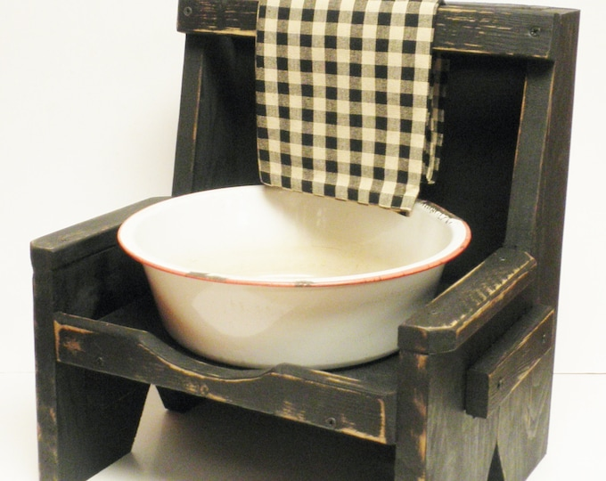 High Back Bench Dry Sink, Wood Benches, Dry Sinks, Primitive Dry Sinks, Country Farmhouse Decor