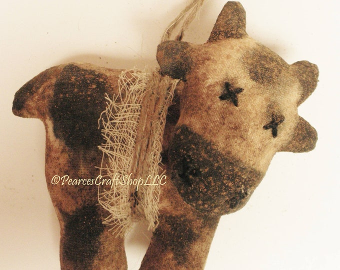 Primitive Cow Ornament - Made To Order | Holstein Cow Ornaments | Country Farmhouse Ornaments