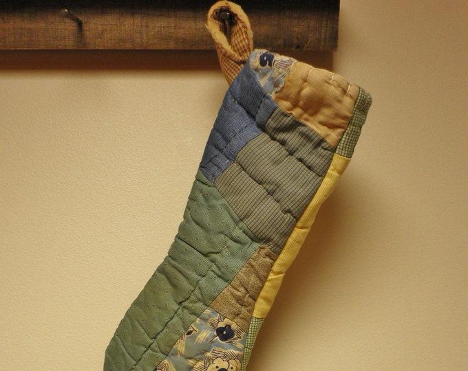 Vintage Quilt Primitive Stocking, Primitive Christmas Stockings, Handmade Stockings