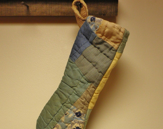 Primitive Stocking | Vintage Quilt Stockings | Primitive Christmas Stockings | Handmade Stockings