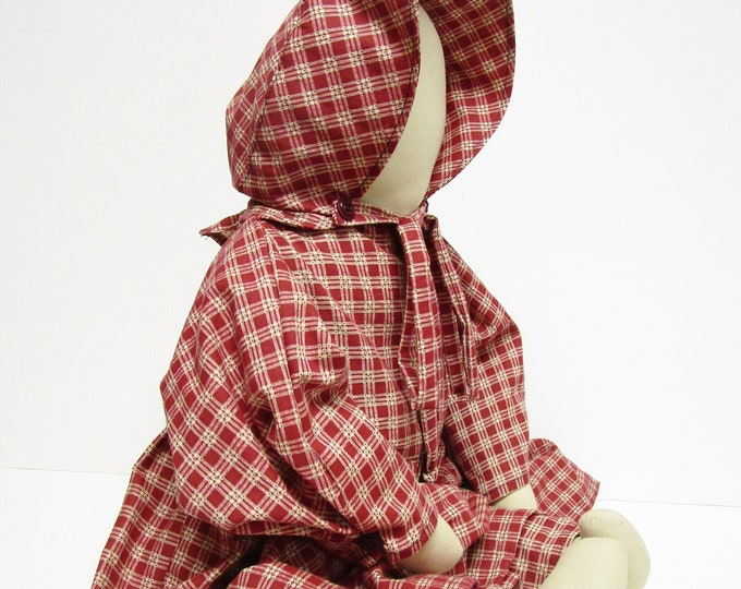 Prairie Doll, Primitive Faceless Doll in Red Prairie Dress