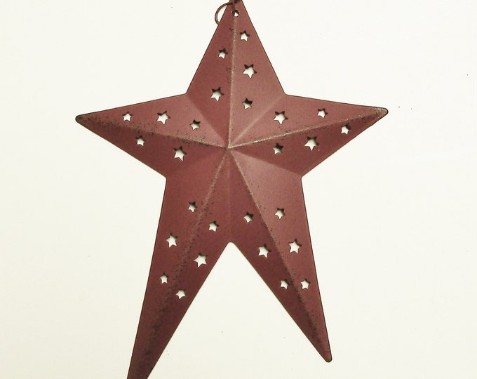 Primitive Star Punched Tin Ornament | Star Ornaments | Country Farmhouse Accents