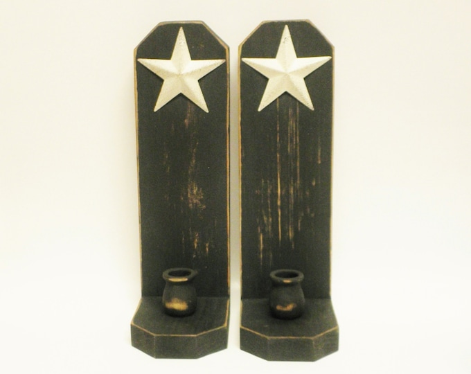 Clipped Corner Candle Sconce Pair with Cream Star, Primitive Candle Holders, Country Farmhouse Wall Sconces