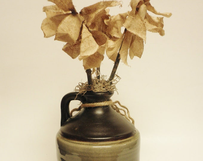 Primitive Flowers in Pottery Jug | Handmade Fabric Flowers | Country Farmhouse Floral Arrangements