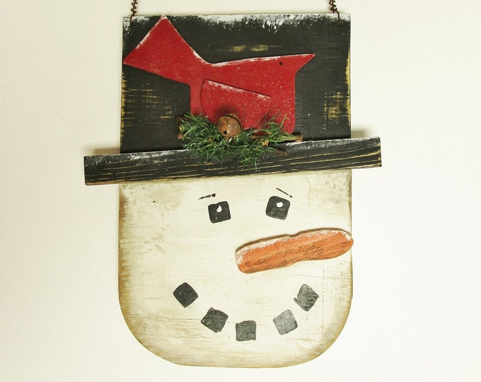 Snowman Hanger, Primitive Christmas Snowmen Wall Decor