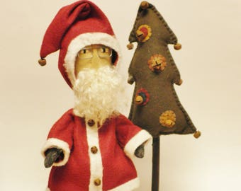 Primitive Santa with Penny Tree, Folk Art Santa, Christmas Decor