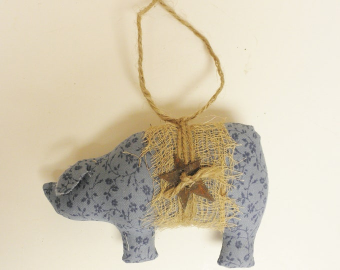 Blue Calico Fabric Pig Ornament | Primitive Ornaments | Handmade Primitive Pigs