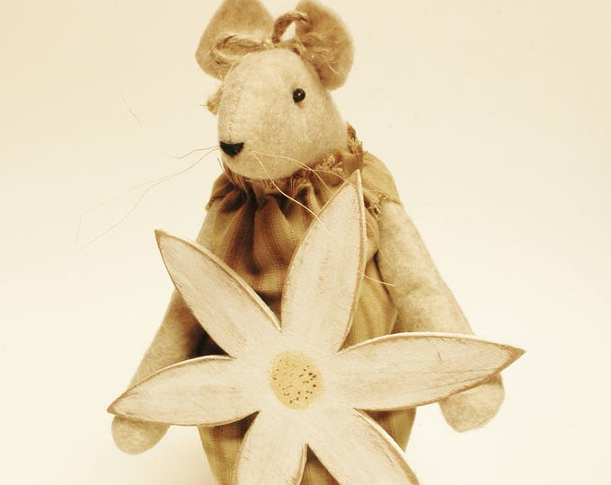Primitive Mouse with Flower - Made To Order | Spring Mouse Decor | Handmade Mice