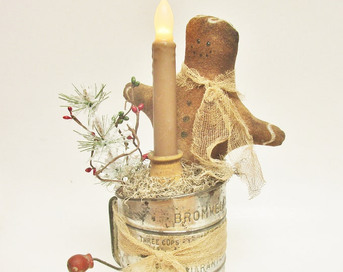 Gingerbread Man Candle Lamp, Primitive Christmas Accent Lights, Primitive Gingerbread Man