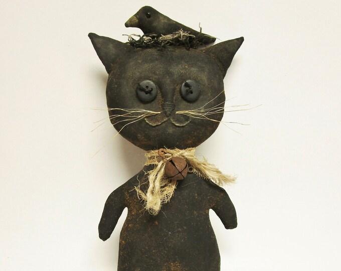 Primitive Cat with Crow Doll   Handmade Cats   Primitive Dolls   Halloween Decor