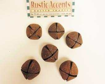Rusty Jingle Bells 25mm, Primitive Bells, Sewing Notions, Craft Supplies