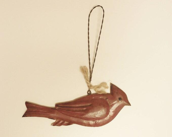 Cardinal Ornament, Rusty Tin Painted Cardinal Ornament, Christmas Decor, DIY Craft Supplies