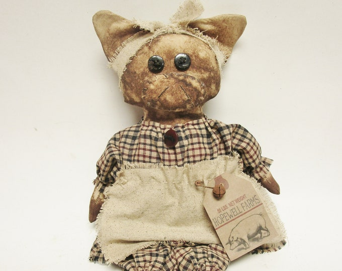 Primitive Pig Doll Girl | Primitive Pigs | Country Farmhouse Pig Decor