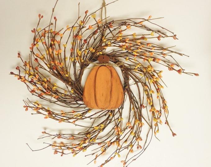 Primitive Pumpkin Twig Wreath | Handmade Fall Wreaths