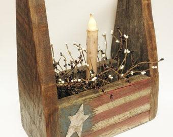 Americana Lighted Tote Box, Patriotic Decor, Summer Decor, Accent Lighting, Primitive Americana Decor, Country Farmhouse Decor