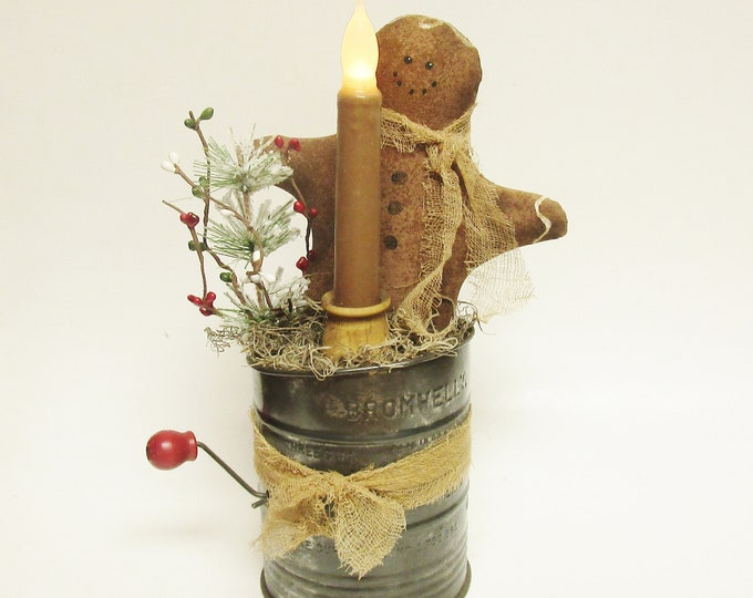 Primitive Gingerbread Man Candle Lamp, Christmas Decor, Accent Lights, Primitive Christmas, Handmade Gingerbread Man