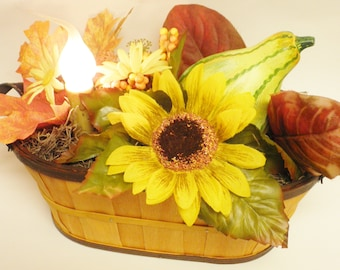 Lighted Fall Basket, Fall Floral Arrangements, Primitive Flower Arrangement, Fall Decor, Country Farmhouse Lighting
