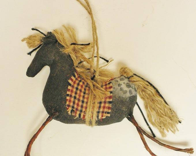 Primitive Horse Ornament, Horse Ornaments, Primitive Christmas Ornaments, Handmade Ornaments