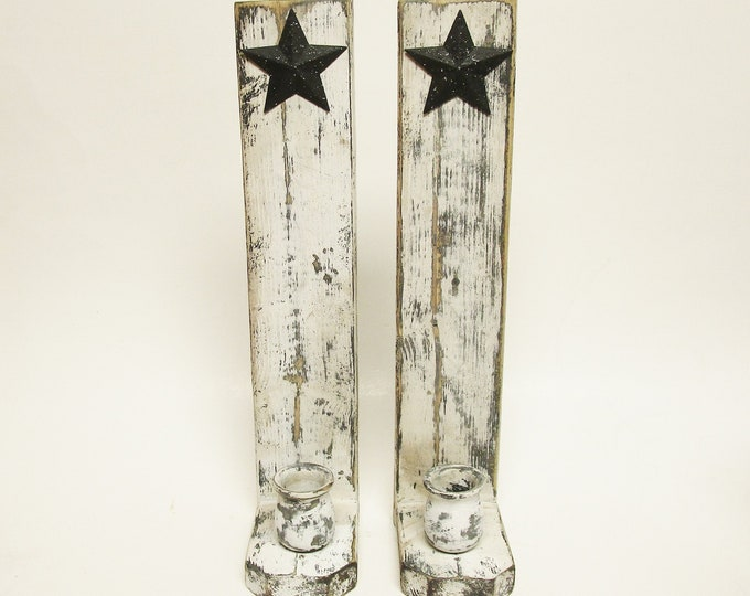 Candle Sconce Pair with Stars | Wood Candle Holders | Black and White Rustic Wall Sconces