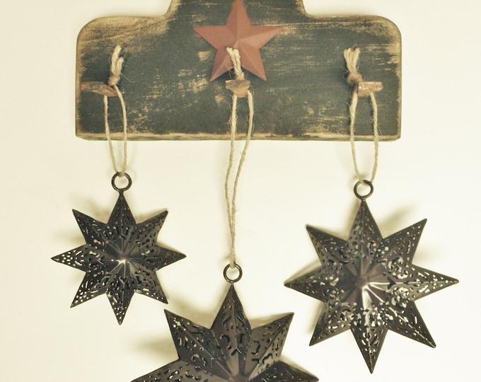 Primitive Peg Rack with Punch Tin Stars   Wall Decor Peg Racks   Punch Tin Star Ornaments