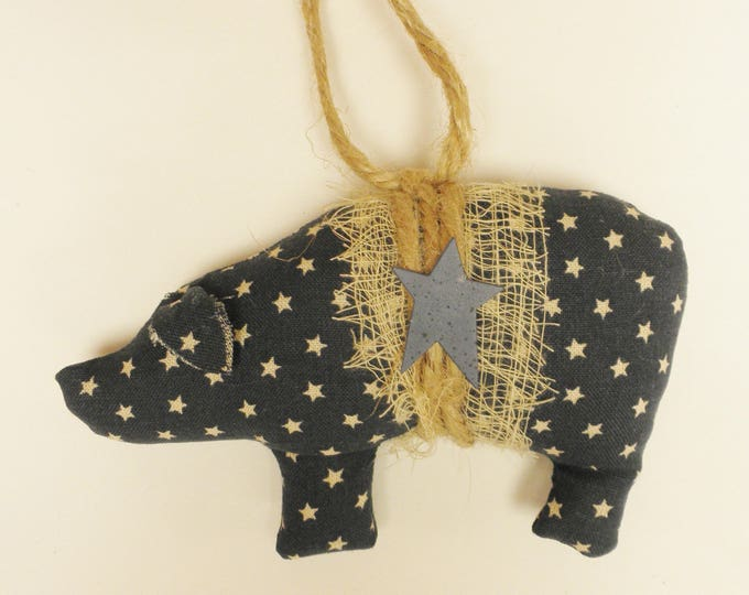 Star Print Fabric Pig Ornament | Primitive Ornaments | Pig Ornaments | Handmade Pigs | Primitive Pigs