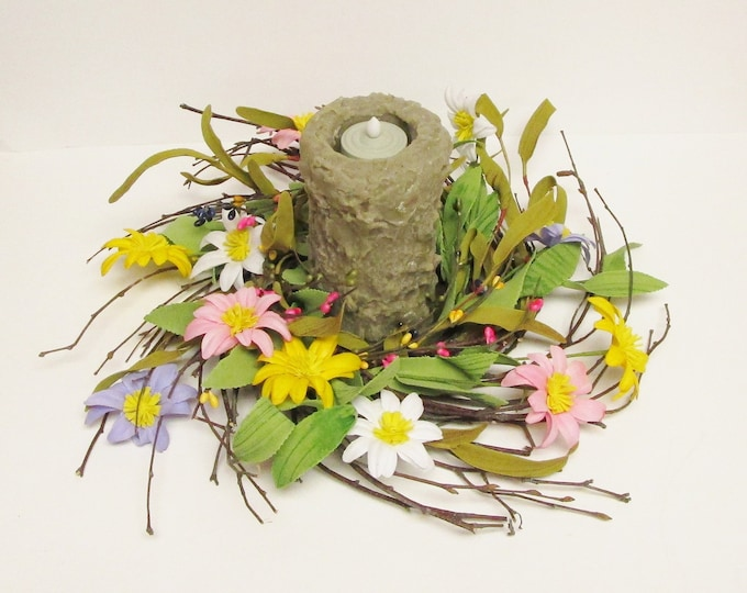 Bumpy Candle Centerpiece | Spring Decor | Floral Arrangements | Primitive Farmhouse Easter Flowers