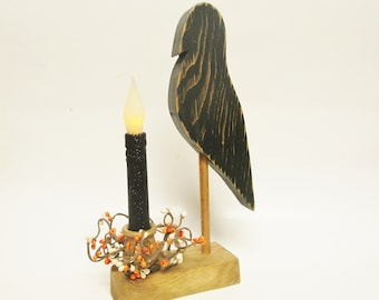 Crow Make Do Candle Arrangement, Primitive Halloween Decor, Crow Candle Holders, Crow Accent Lighting, Fall Decor