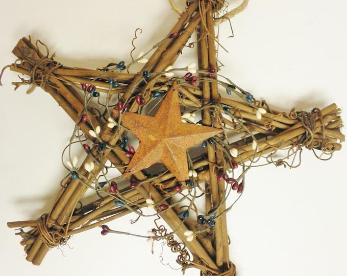 Primitive Americana Grapevine Star | Handmade Summer Wreaths