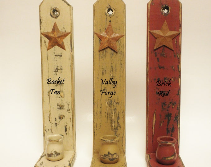 Candle Sconce with Rusty Star, Handmade Sconces, Wood Candle Holders, Primitive Wall Sconces