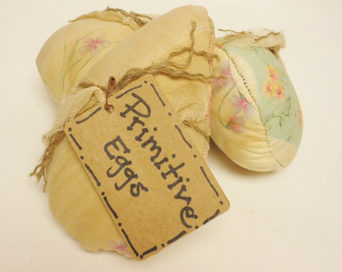 Primitive Eggs Set of 3 | Vintage Quilt Eggs | Country Spring Decor | Handmade Eggs | Farmhouse Egg Bowl Fillers