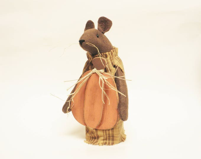 Primitive Pumpkin Mouse - Made To Order | Primitive Mouse Decor | Fall Harvest Decor