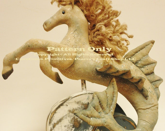 Primitive Seahorse Pattern, Primitive Horses, ePatterns, Sewing Patterns, Seahorses, Animal Patterns