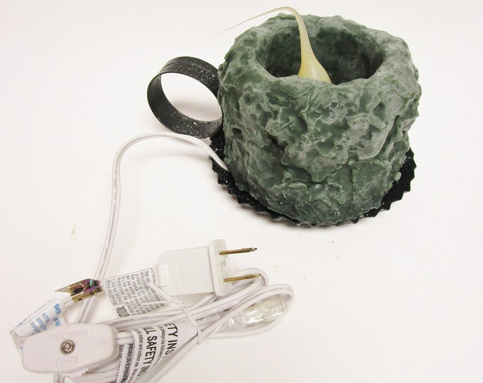 Primitive Candle Lamp, Green Flameless Candles, Christmas Decorative Candles
