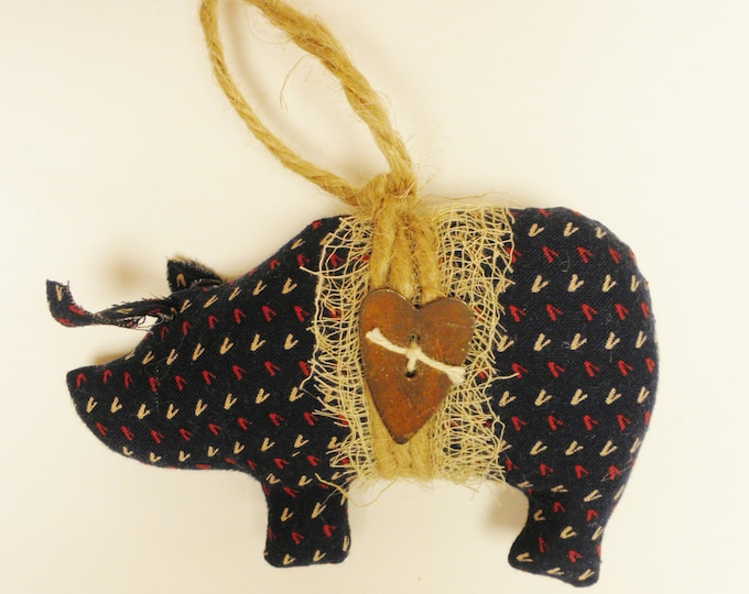 Primitive Americana Pig Ornament | Pig Ornaments | Handmade Ornaments | Primitive Pigs