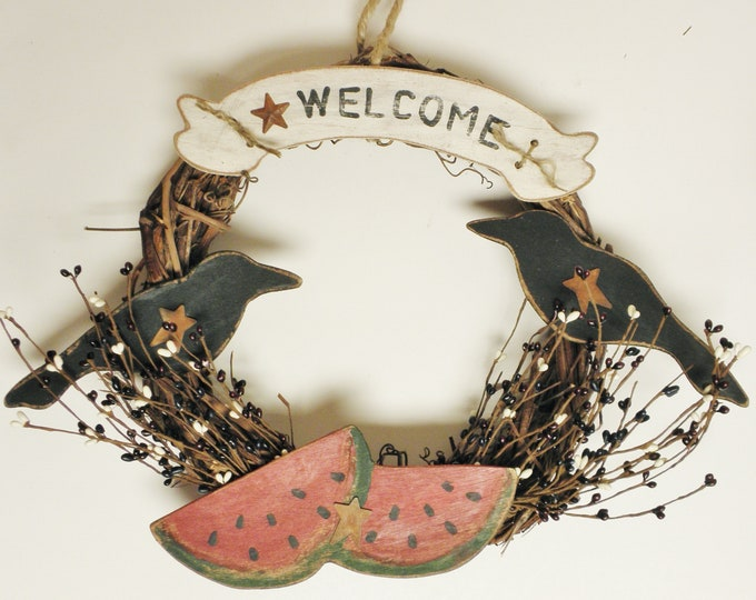 Primitive Crows & Watermelon Wreath, Grapevine Wreaths, Handmade Wreaths, Primitive Americana, Summer Decor, Country Farmhouse Wreaths