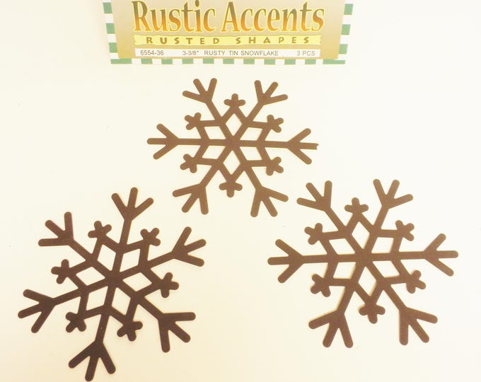 Rusty Tin Snowflakes | Primitive Snowflakes | Snowflake Accents | Metal Snowflakes | Christmas Craft Supplies