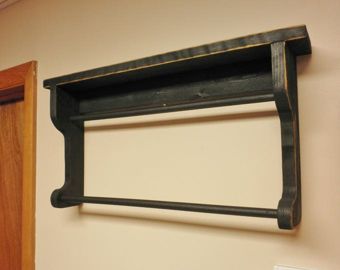 Primitive Shelf with Double Bar | Handmade Quilt Shelves | Wood Shelving