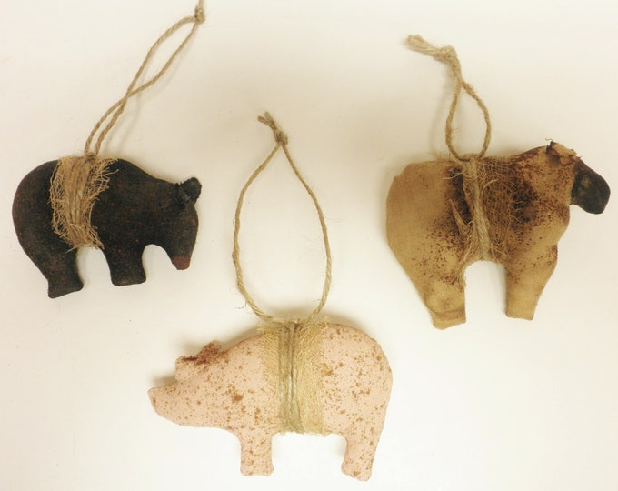 Primitive Animal Ornament Set of Three | Christmas Ornaments | Handmade Ornaments | Primitive Ornaments