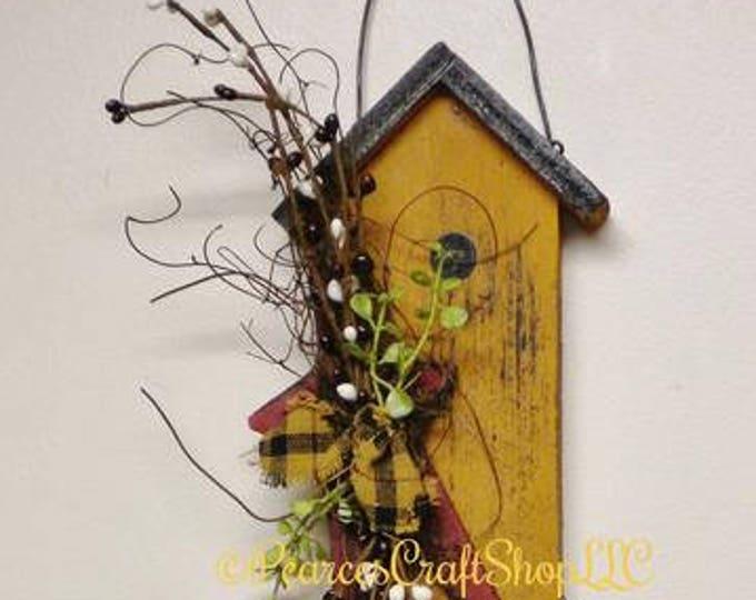Birdhouse Ornament With Star & Berries, Spring Decor, Wood Ornaments, Country Farmhouse Decor, Primitive Ornaments