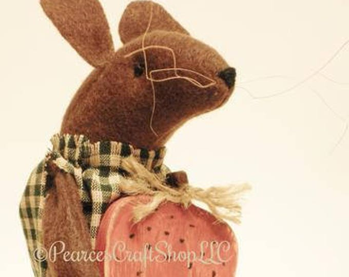 Primitive Mouse with Strawberry - Made To Order | Spring Decor | Country Farmhouse Mouse Decor