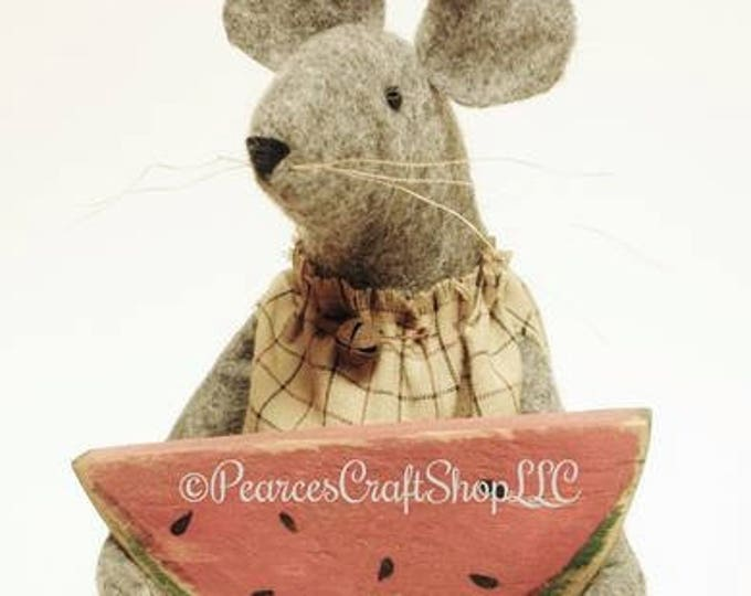 Primitive Mouse with Watermelon - Made To Order | Handmade Mouse | Watermelon Mouse Summer Decor