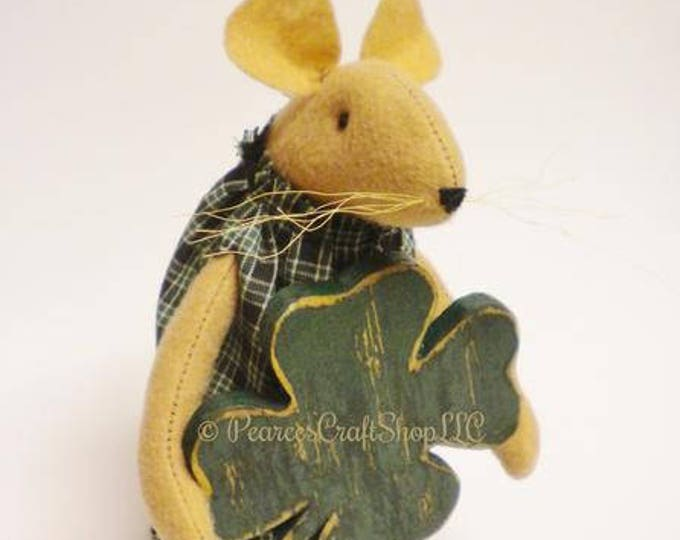 St. Patrick's Day Mouse - Made To Order | Mouse with Shamrock | St. Patrick's Day Decor