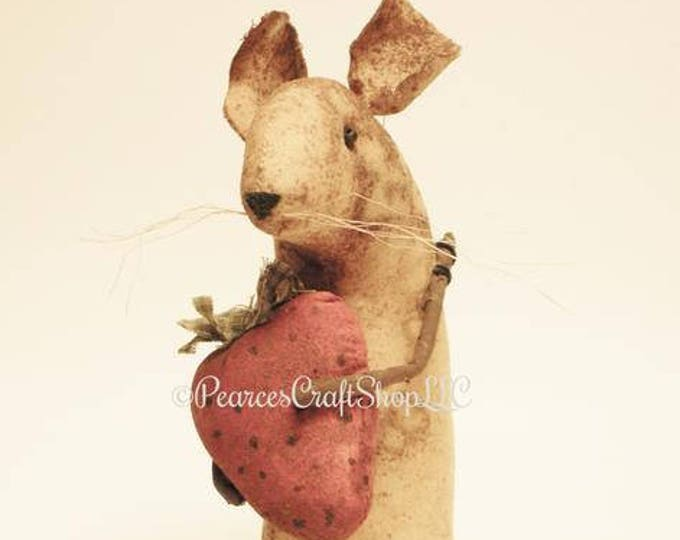 Extreme Primitive Strawberry Mouse - Made To Order | Primitive Mouse | Handmade Mouse Summer Decor