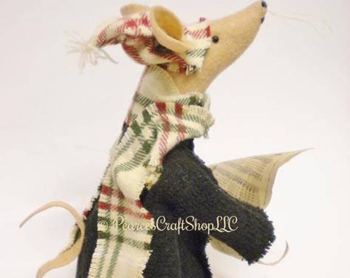 Caroling Mouse - Made To Order | Primitive Mouse | Handmade Mouse Christmas Decor