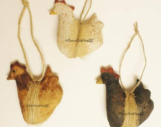 Primitive Chicken Ornament | Handmade Hen Ornaments | Country Farmhouse Ornaments